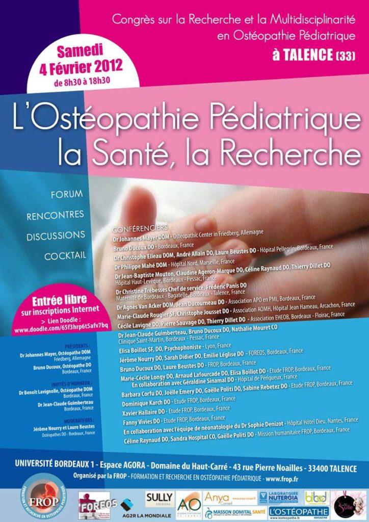 2012 Congrès ostéopathie pédiatrique, santé et recherche